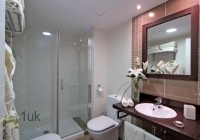 Glass shower with toilet and sink