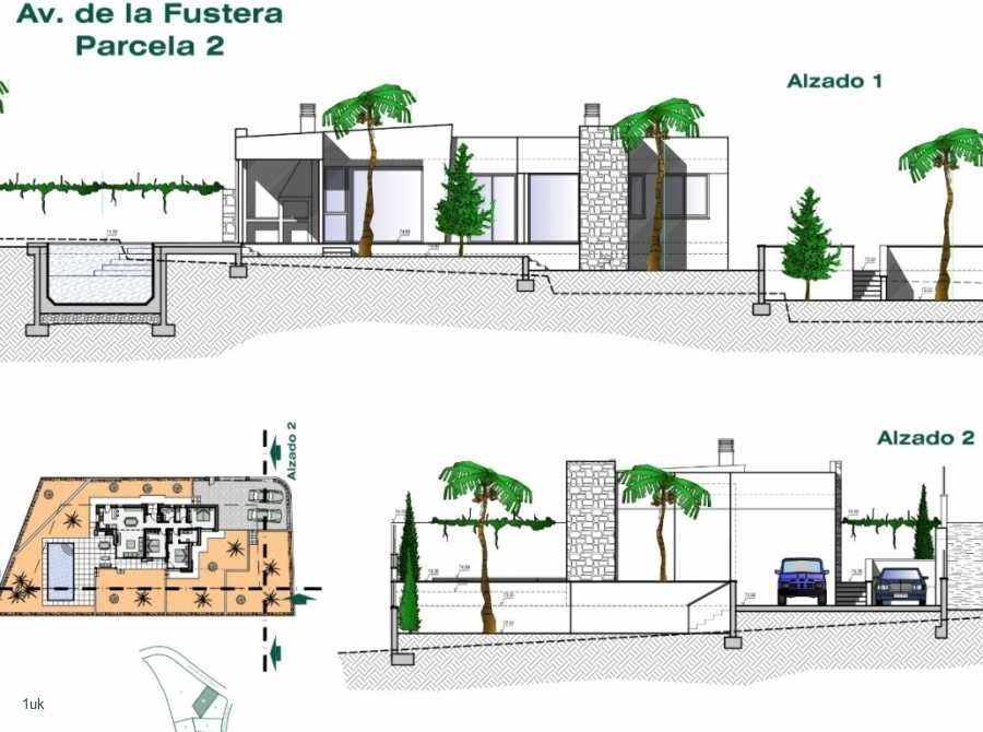 The plans of the outside villa stage 1 and 2