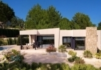 Outside 3-bedroom modern built villa for sale located in Benissa coast complete with central heating and private swimming pool