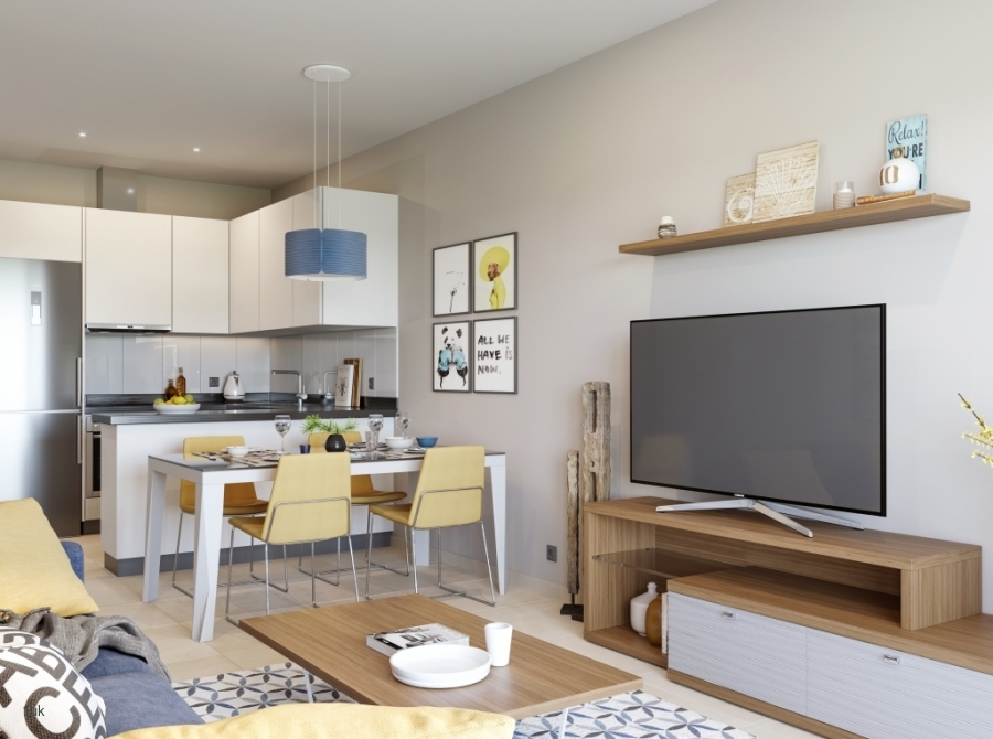 Breakfast table and chairs in open plan kitchen and lounge