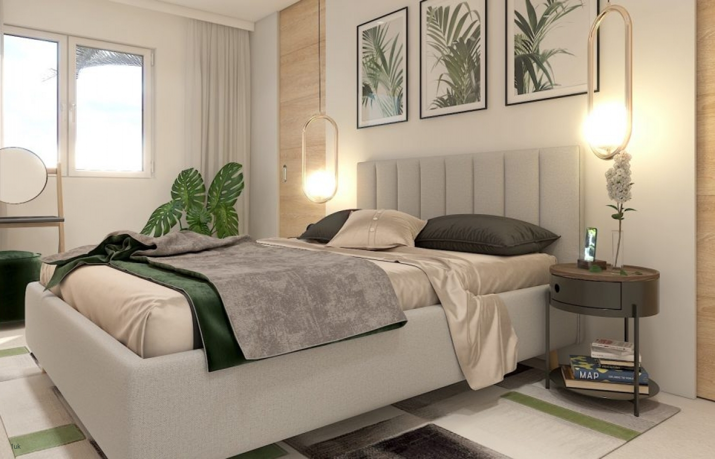Bedroom with storage and large windows