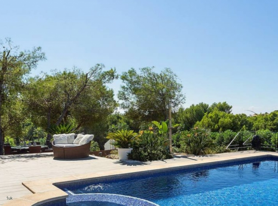 Private swimming pool and seating area