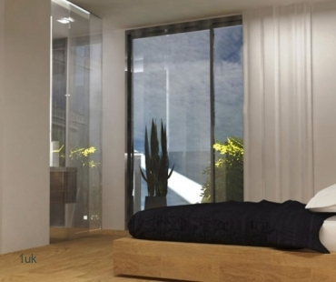 Bedroom with large windows for the perfect views