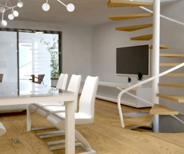 Dining table and chairs with staircase