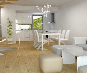 Open plan lounge area with seating
