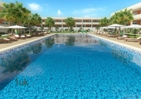 Crystal clear blue waters inside the swimming pool