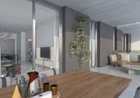Open plan kitchen and dining area with furniture
