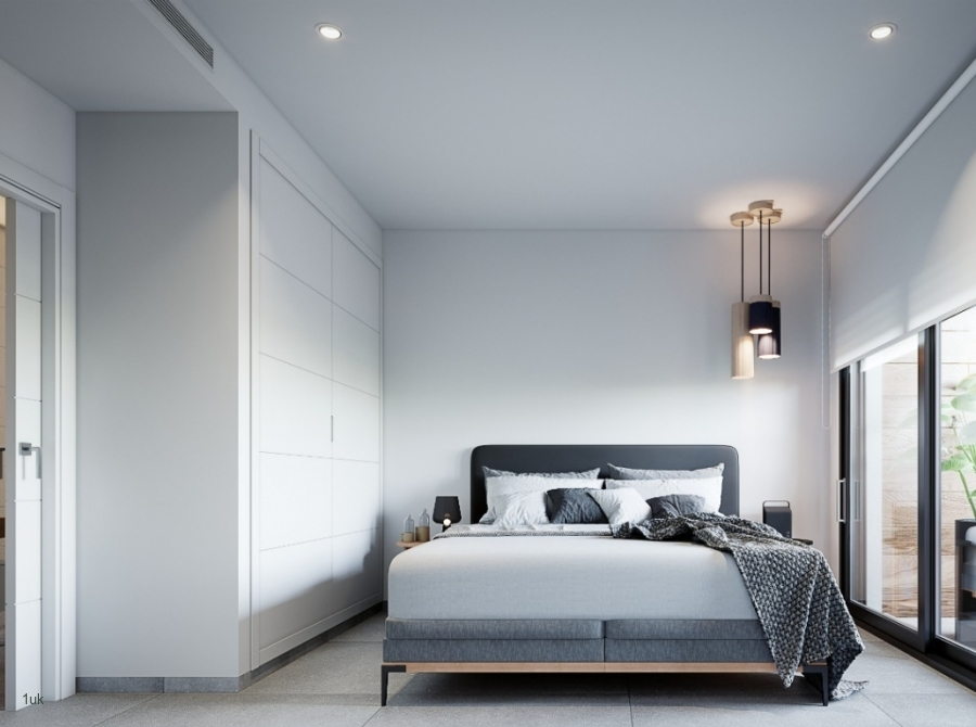Bedroom two with large windows