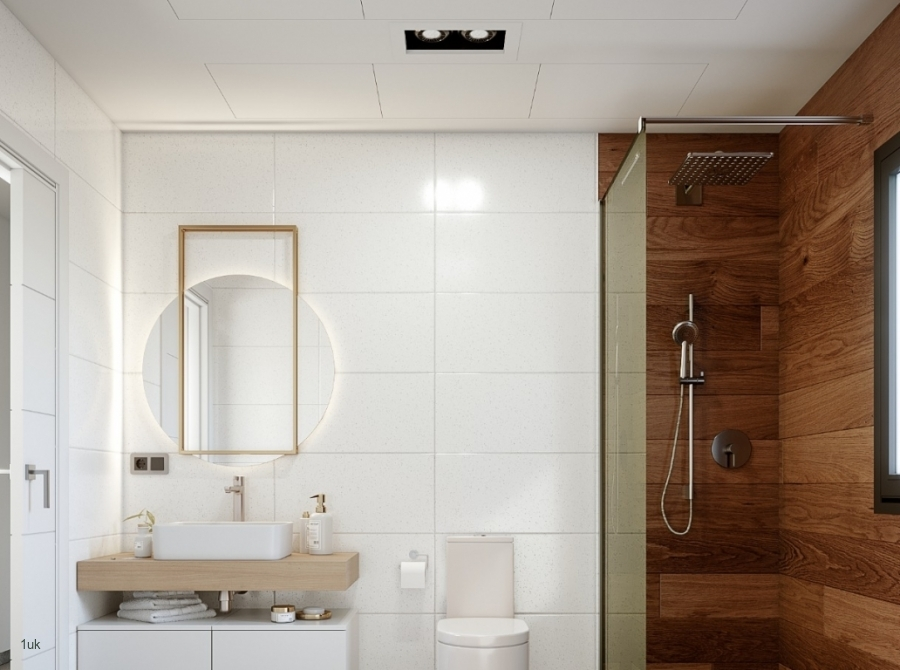 Walk in shower with sink and toilet