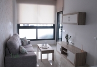 Large windows inside the one bedroom apartment